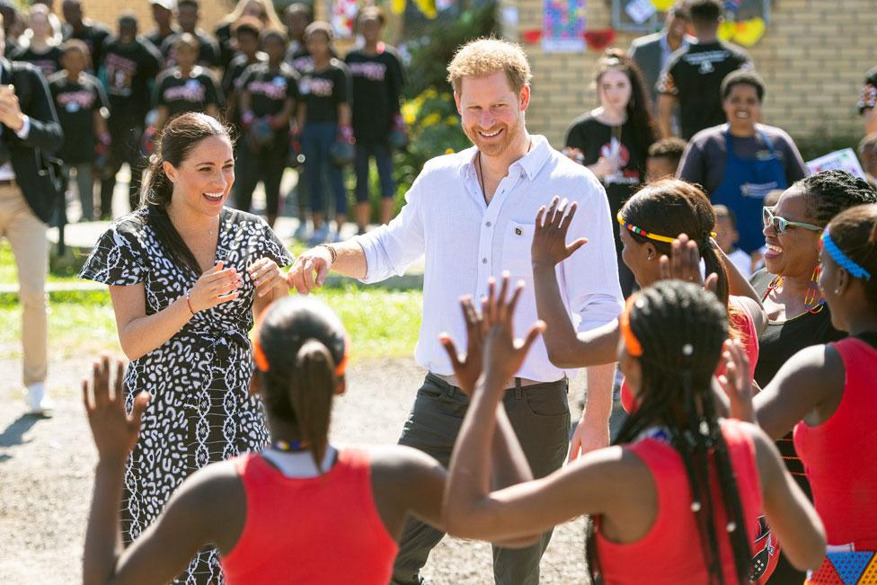 Los duques de Sussex en Sudáfrica.