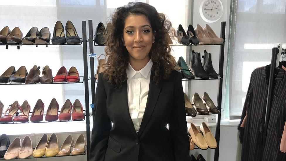 Saarah in her Burberry suit