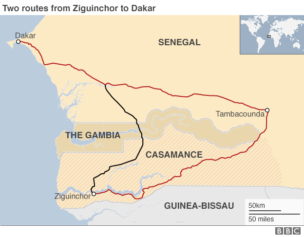 Map showing the two routes from Ziguinchor to Dakar in Senegal