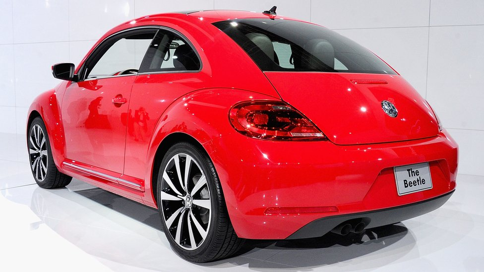 The 2012 Volkswagen Beetle sits on display