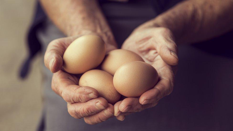 Manos masculinas sosteniendo varios huevos.