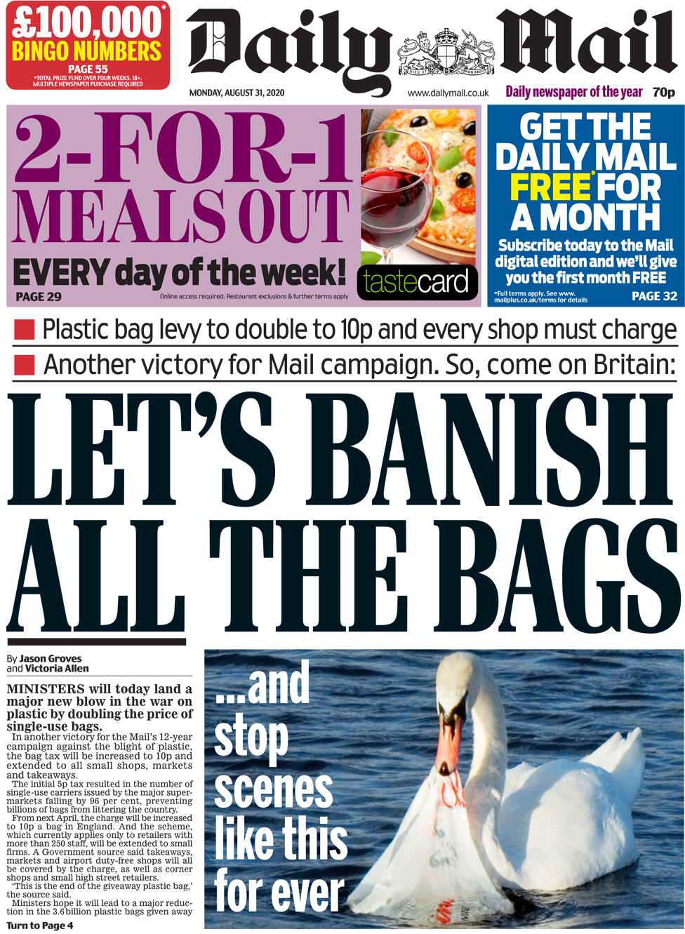 The Daily Mail front page 31 August 2020