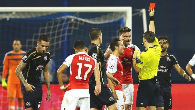 Arsene Wenger says Giroud red card was harsh