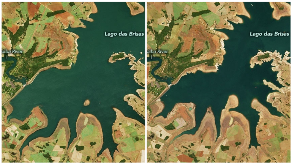 Antes y después de la sequía en Lago das Brisas.