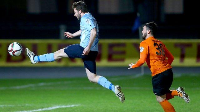 Nathan Hanley scores the winner for Ballymena United