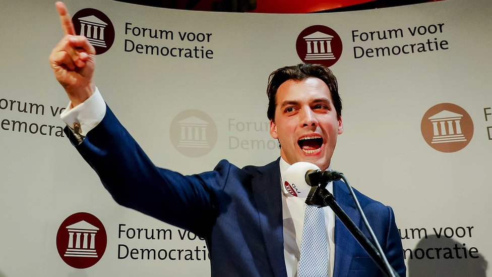 Thierry Baudet of Forum for Democracy during election night in Zeist, the Netherlands, on 20 March 2019