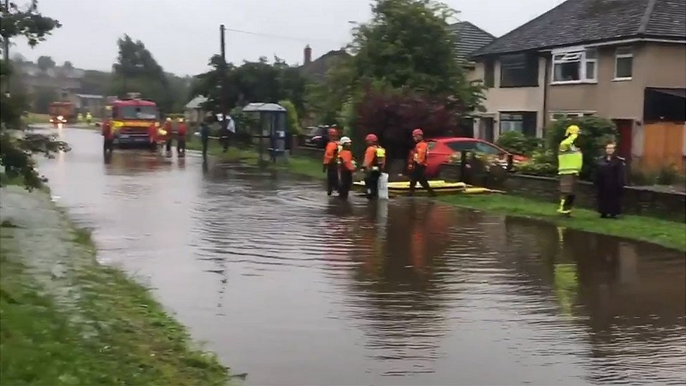 Flooding in road