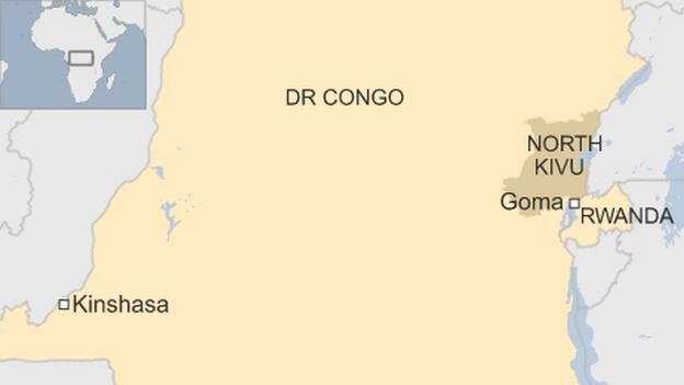 Map of DR Congo, showing North Kivu province, and Rwanda
