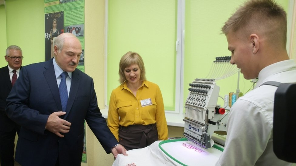 Belarusian President Alexander Lukashenko visits Baranovichi College of Service Industry, in Baranovichi, Belarus September 1, 2020.
