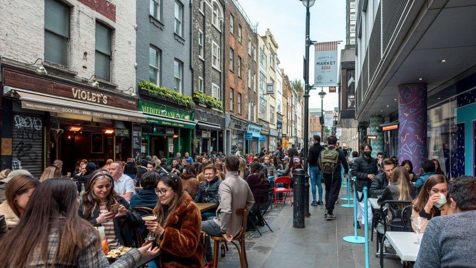 A street in London's Soho fashionable neighbourhood