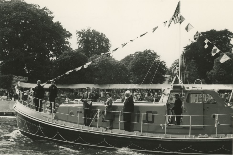 The Queen aboard a lifeboat