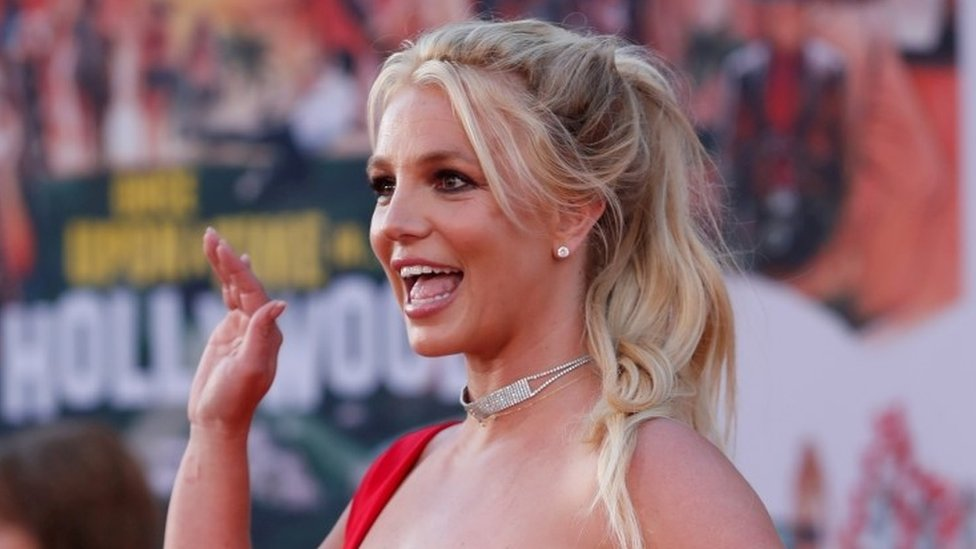 Britney Spears poses at the premiere of Once Upon a Time In Hollywood in Los Angeles, California