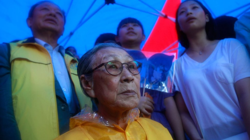 Kim Bok-Dong (87), a former comfort woman, who served as a sex slave for Japanese troops during World War Two, attends a rally to mark 67th Independence Day in front of Japanese embassy on August 15, 2012 in Seoul, South Korea.