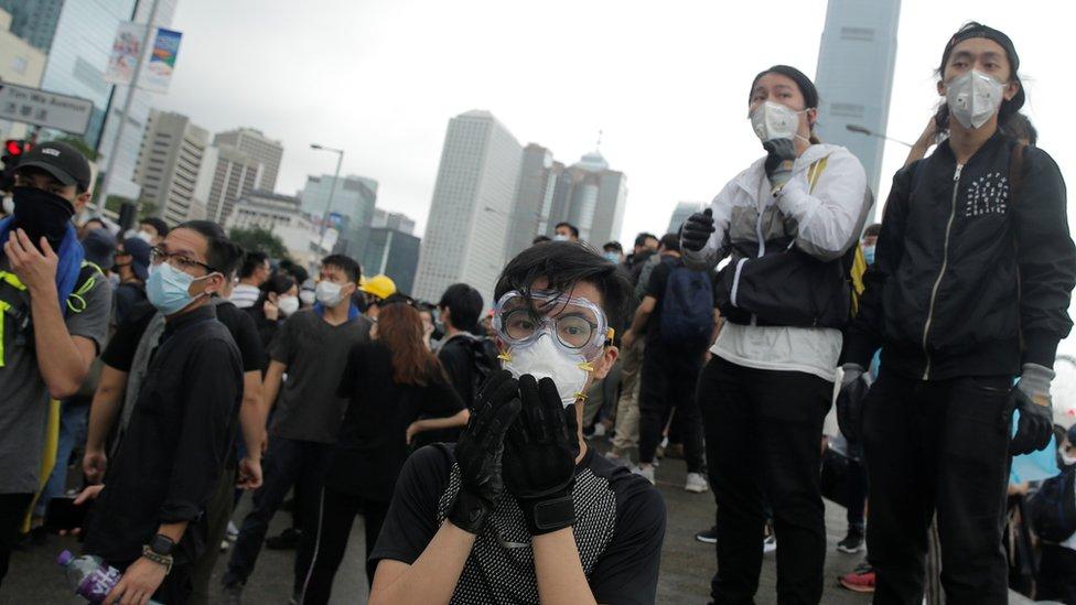 Manifestantes en Hong Kong, 12 de junio de 2019