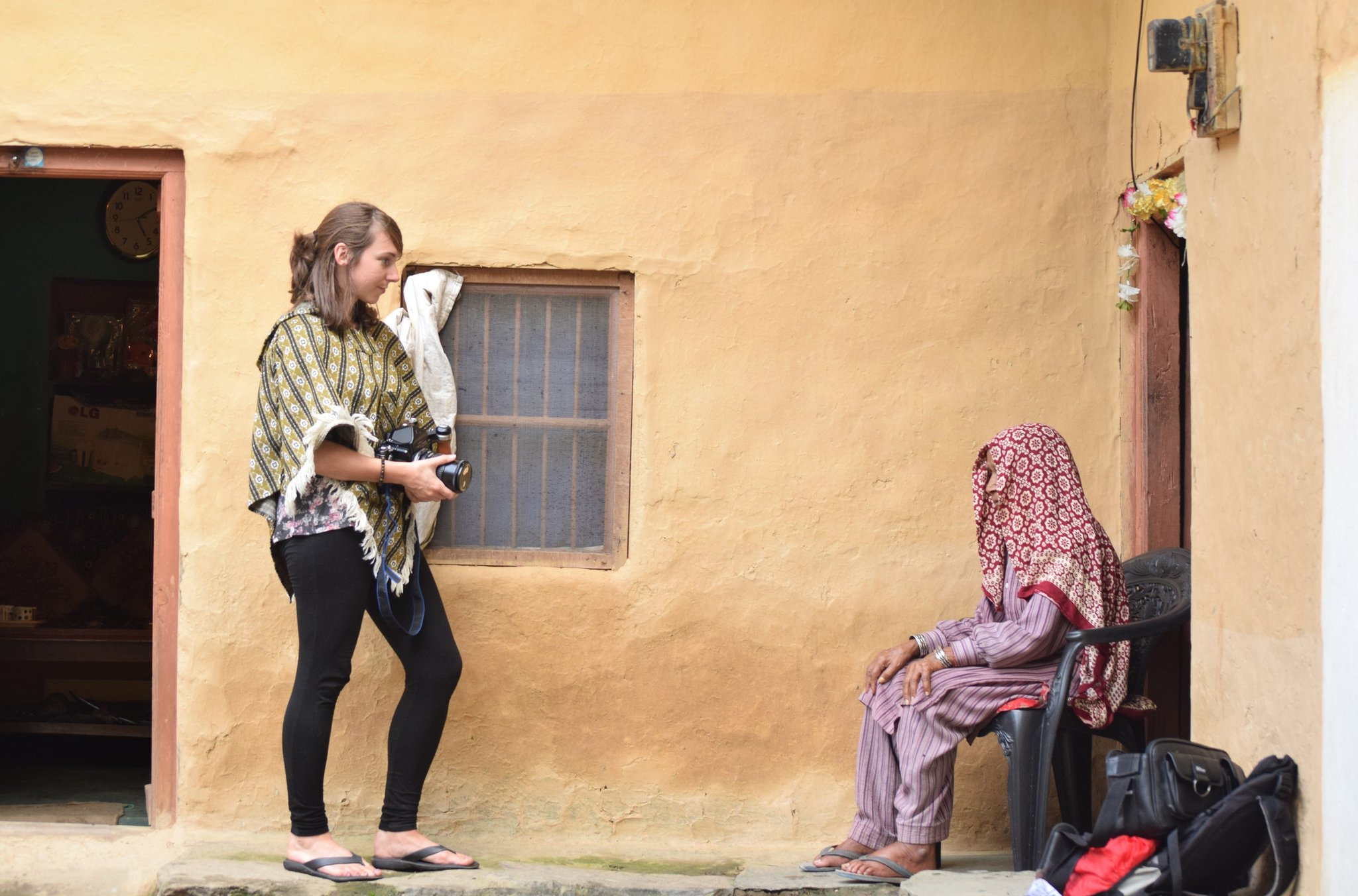 Carly Clarke working on her photography in India