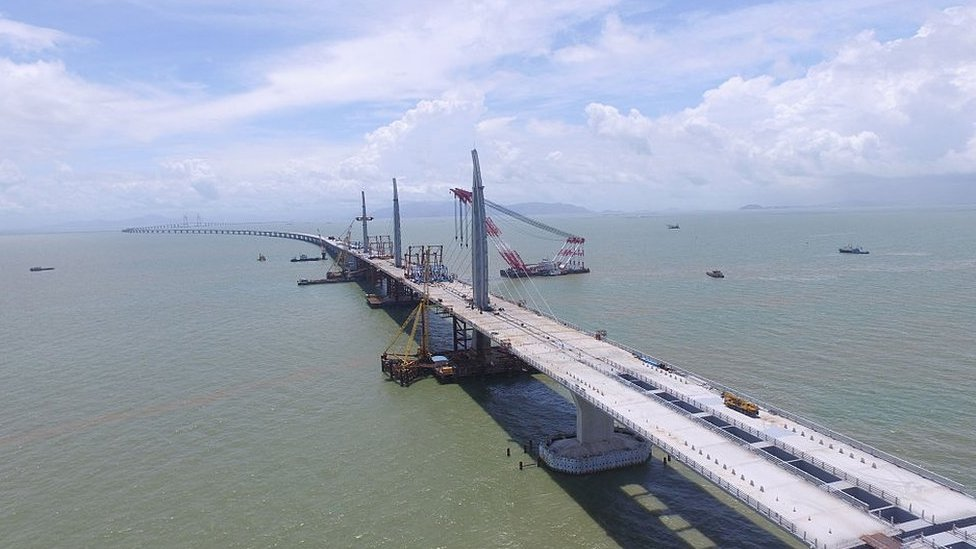Aerial view of the Hong Kong-Zhuhai-Macao Bridge on June 29, 2016 in Zhuhai, Guangdong Province of China.