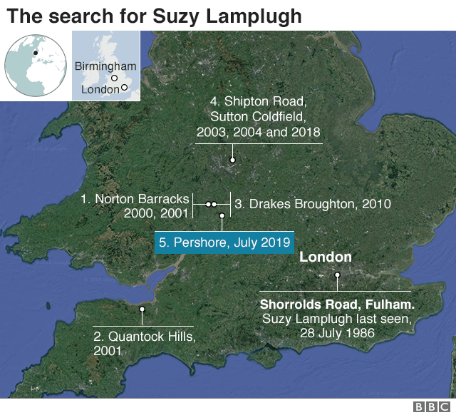 Map: Suzy Lamplugh search locations