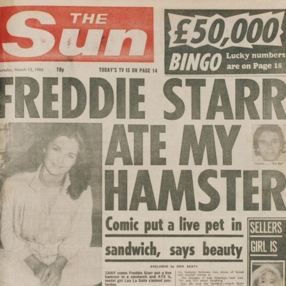 The Sun's Freddie Starr 'scoop'. It turned out the story was a hoax.