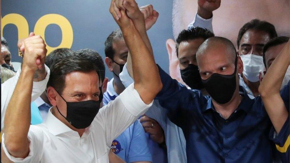 João Doria celebra vitória de Bruno Covas