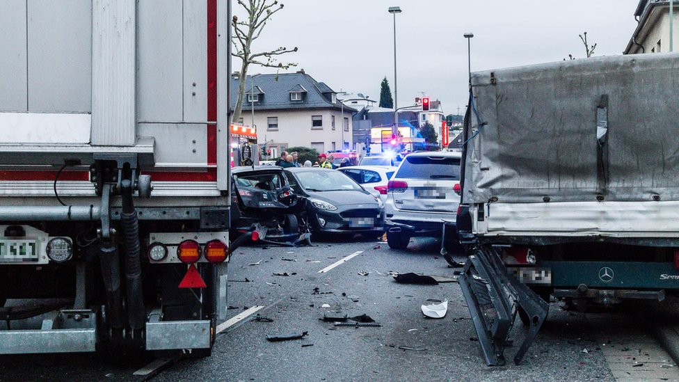 A view of the scene of an accident involving a stolen truck in Limburg, Germany, 07 October 2019 (issued 08 October 2019).