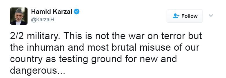 "Tweet reads: ""military. This is not the war on terror but the inhuman and most brutal misuse of our country as testing ground for new and dangerous"". A third tweet continues: ""..weapons. It is upon us ,Afghans, to stop the #USA."""