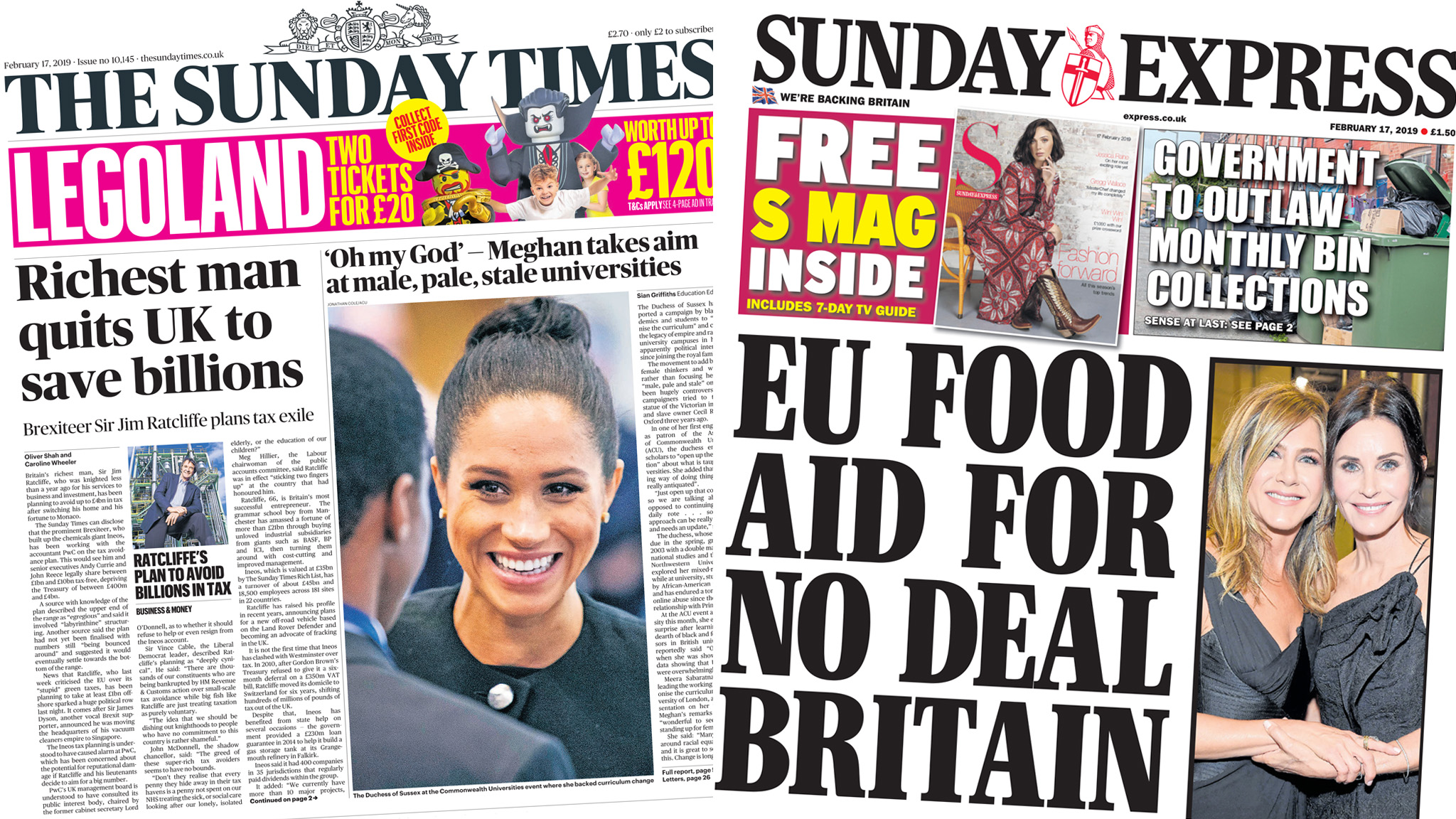 The Papers: Richest man quits UK, and EU Brexit aid plan