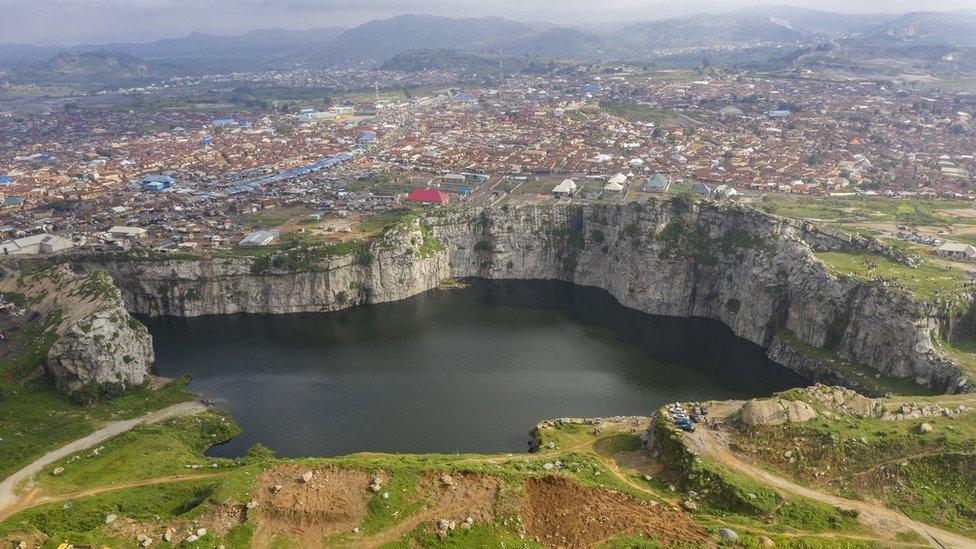 The lake at Mpape Crushed Rock near Abuja, Nigeria