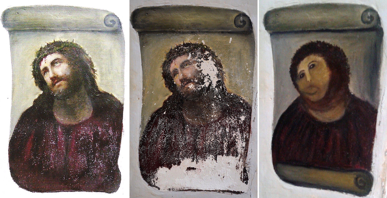 Combinación de tres documentos del Centro de Estudios Borjanos en agosto de 2012, que muestra la versión original de la pintura Ecce Homo, del artista del siglo XIX, Elías García Martínez.