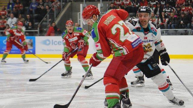 Cardiff Devils' Joey Haddad against Belfast Giants