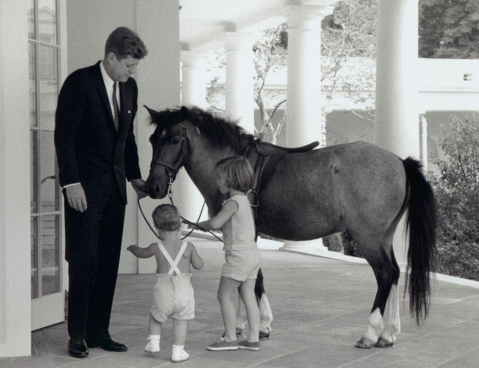 حصلت كارولين، ابنة كينيدي، على مهر اسمه معكرونة من ليندون جونسون. يشاهد هنا الرئيس مع كارولين ومعكرونة أعلاه، مع جون كينيدي الأصغر خارج المكتب البيضاوي في عام 1962.