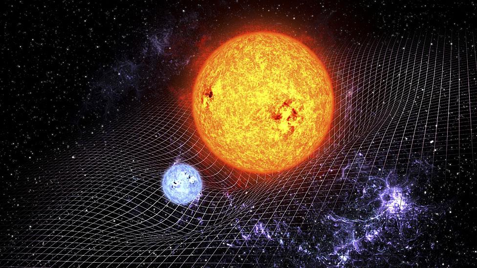 Ilustración del concepto de la curvatura del espacio-tiempo