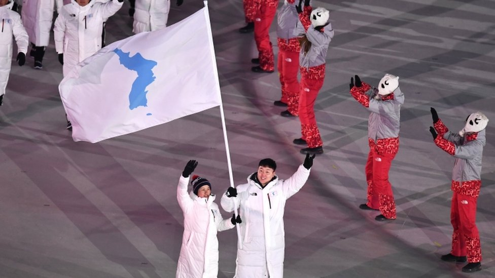 The nations marched under the unified lag at the opening of the Winter Olympics