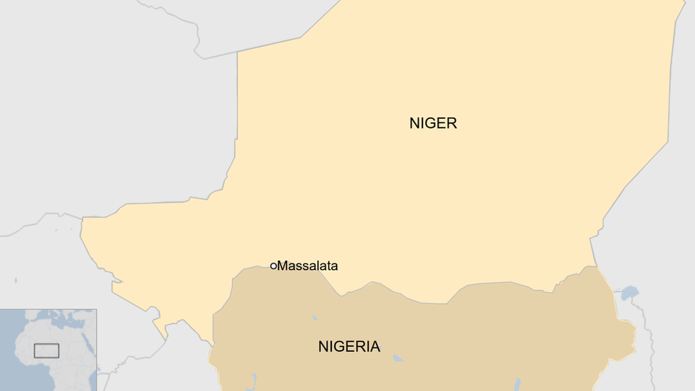 A map showing Niger