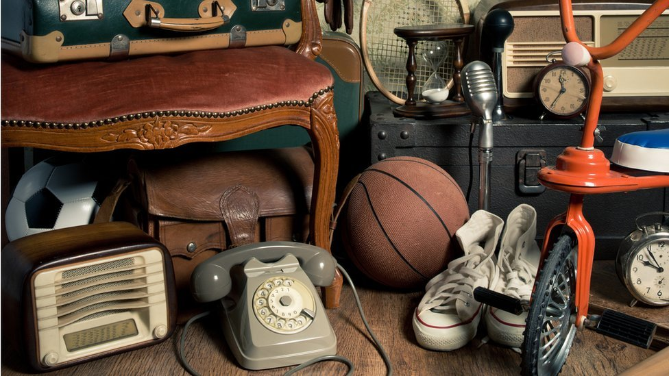 Old-fashioned objects in attic