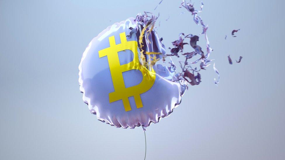 Illustration of Bitcoin balloon bursting