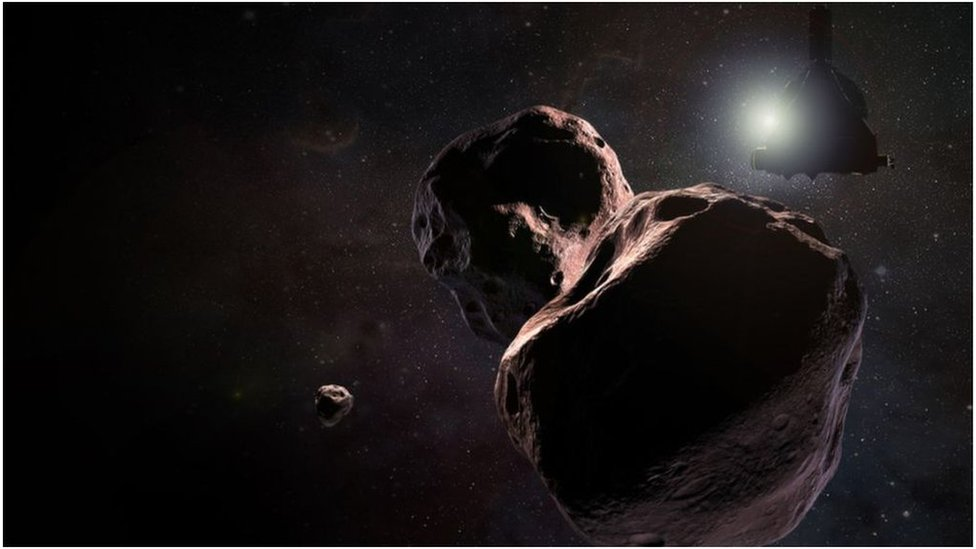The moonlet may be about 200-300km from the main object