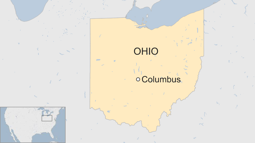 A map showing the city of Columbus in relation to the state of Ohio, USA