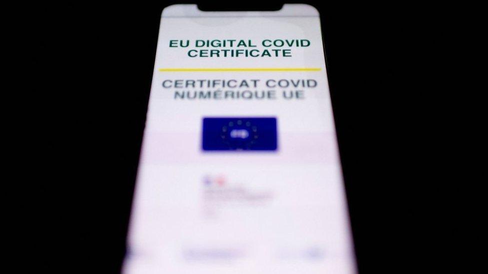 EU Digital Covid certificate on a phone screen
