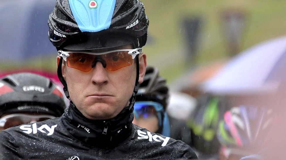 Bradley Wiggins waits at the start of the twelfth stage of the Giro d'Italia 2013