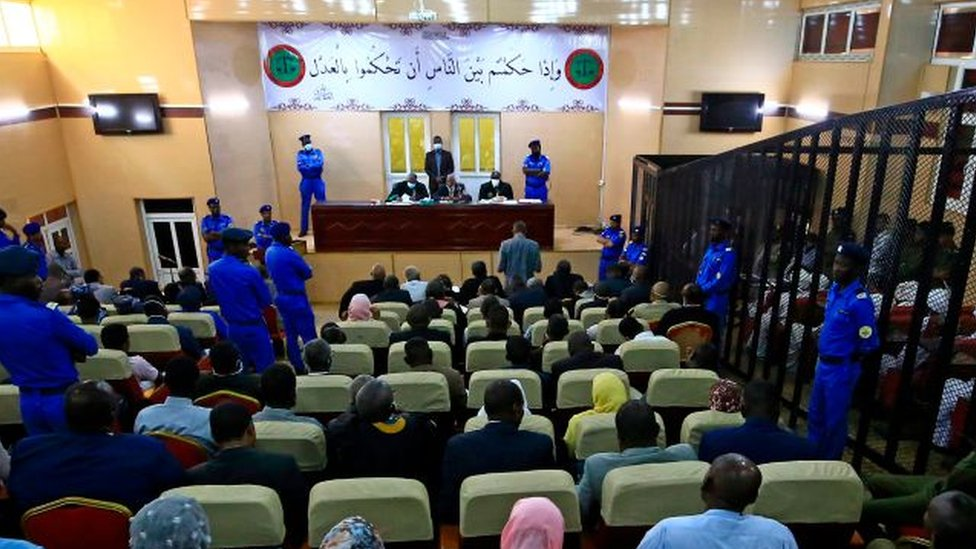 A general view shows the trial of Sudan's ousted president Omar al-Bashir along with 27 co-accused at the Khartoum courthouse