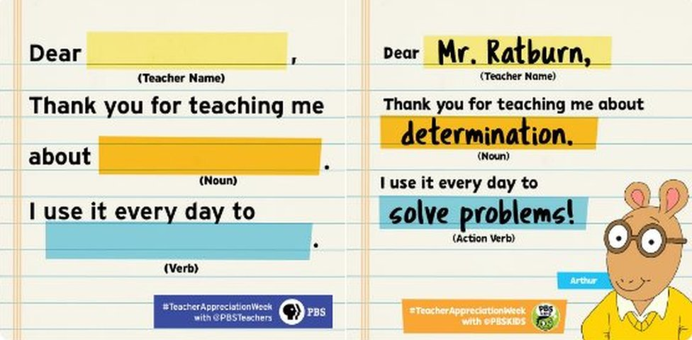 Form: Dear (teacher name); Thank you for teaching me about (noun). I use it every day to (verb).