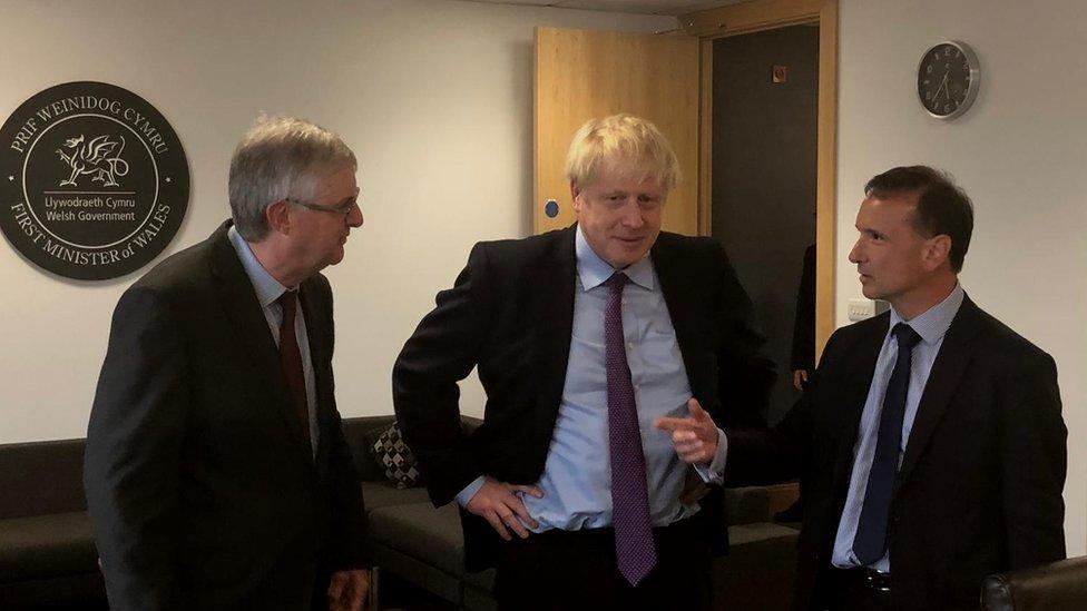 Mark Drakeford, Boris Johnson and Alun Cairns