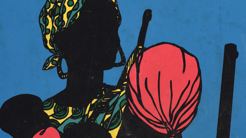 An Ospaaal poster called After Emory Douglas, 1968 showing women in headscarves with babies and guns