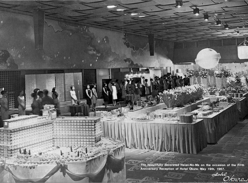 A picture of Hotel Okura's fifth anniversary reception in 1976