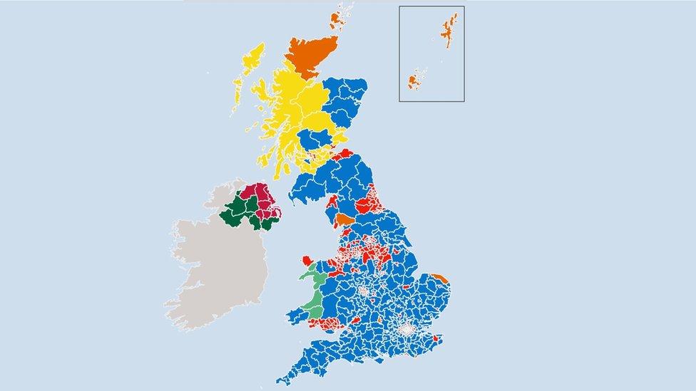 2017年英國大選結果示意圖
