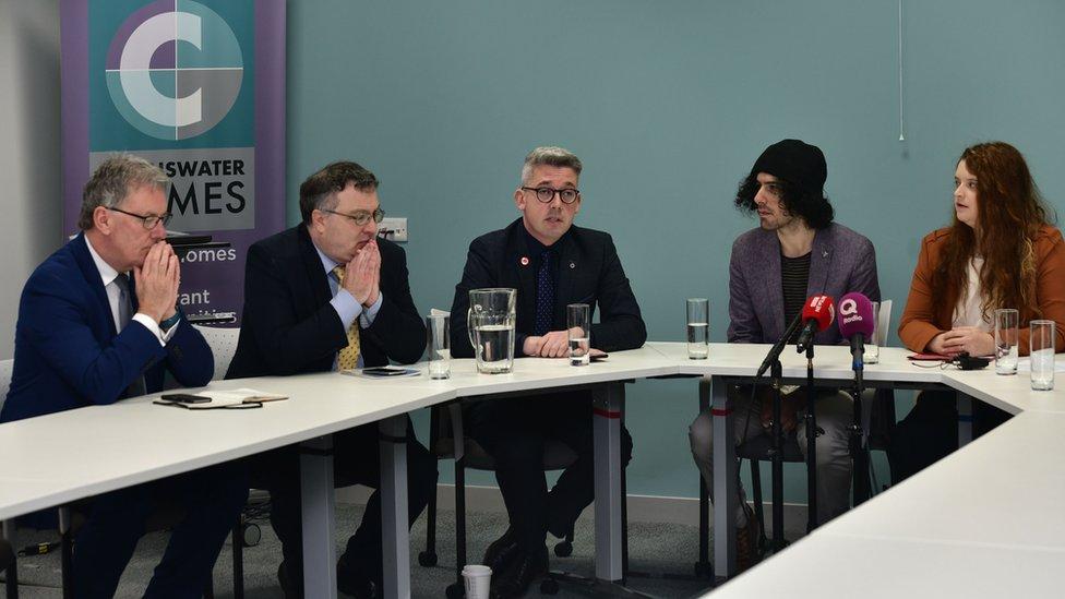 The couple speaking after the verdict alongside UUP MLA Mike Nesbitt, Alliance MLA Stephen Farry and Sinn Féin Senator Niall Ó Donnghaile