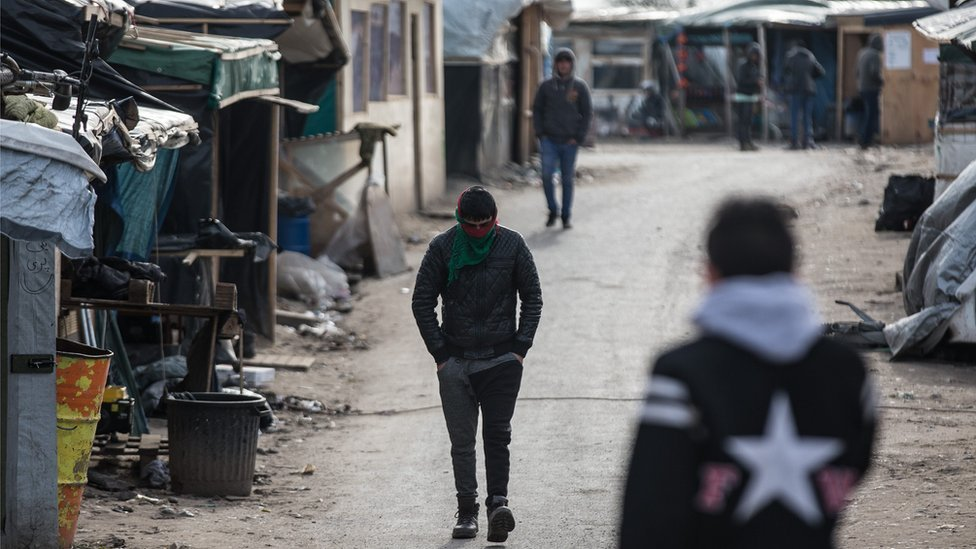 Migrants inside the Jungle in Calais, 28 February