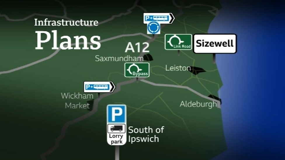Map showing Sizewell C location and associated infrastructure
