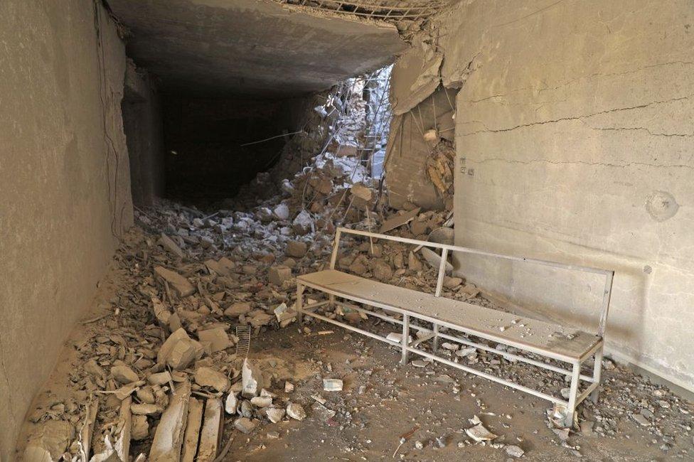Hospital subterráneo de Hass, en Idlib, Siria, en mayo de 2019 tras ser alcanzado por un ataque aéreo de Rusia.