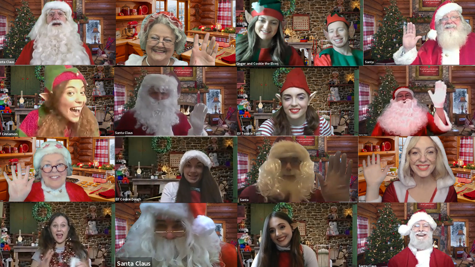 A training session for Santa and his staff on Zoom